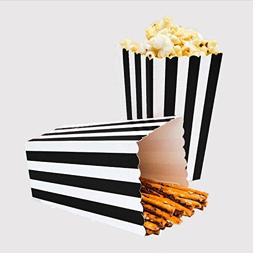 24pcs Striped Paper Popcorn Boxes for Party Favor