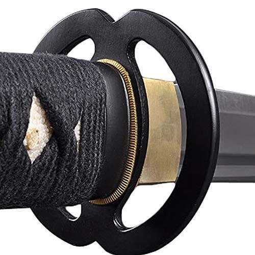 - Handmade Sword - Stainless Steel Unsharpened Iaido Training Wakizashi Sword, Handmade, Full Tang, Musashi Tsuba, Black Scabbard
