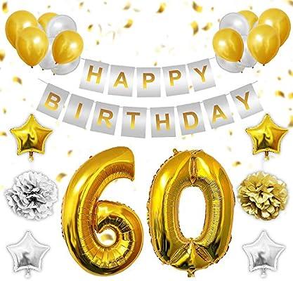 60 Cumpleaños Globos Decoración - 60 Dorados Globo, Happy Birthday Pancarta, Globos de Estrella, Dorados y Plata Globos de Latex, Pom Poms Apto para ...
