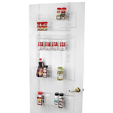 Home Basics 6 Tier Over the Door Kitchen Hanging Cabinet Pantry Organizer,  White