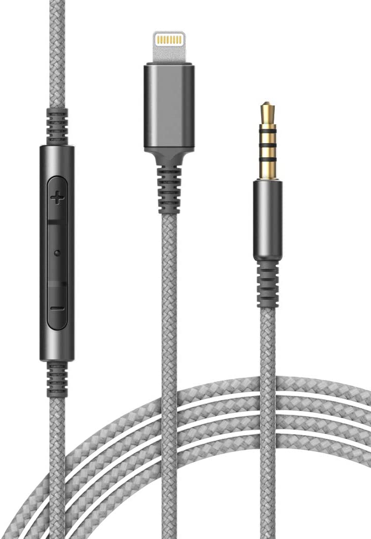(Apple MFi Certified) Replacement Headphone Cable with iPhone Lightning Connector (3.5mm) Audio Aux Cord with Mic & Volume Control Remote (Compatible with Beats/Sony/Sennheiser and Audio Tech)