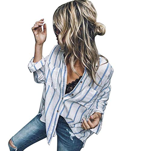 Chemise Chemisier Manches Body Bleu Femme Rayures Chemise Col Xmiral Patte Longues boutonne OXUdFf
