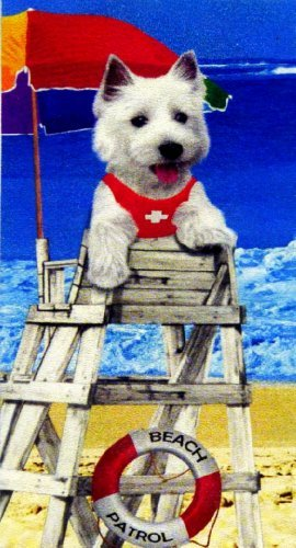 (White Terrier Lifeguard Dog Beach Towel)