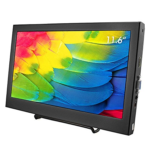 Monitor Industrial Lcd - Elecrow 11.6 Inch 1920X1080 HDMI VGA Portable Monitor 1080P LED Display for PS3 PS4 WiiU Xbox360 Raspberry Pi 3 2 1 Model B B+ Windows 7 8 10 System Home Office(Black)