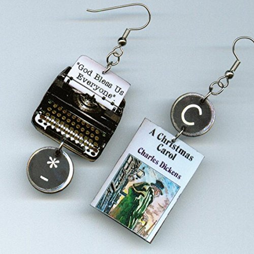 Christmas Carol Book Cover - Book Cover Earrings - A Christmas Carol Charles Dickens Quote - typewriter key jewelry