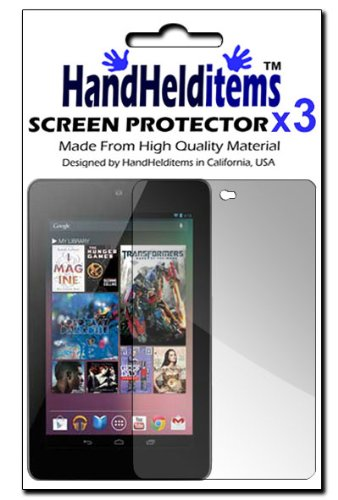 HHI Anti-Fingerprint, Anti-Glare, Matte Finsihed Screen Protector for Google Nexus 7 - (3 Pack) (Package include a HandHelditems Sketch Stylus Pen)