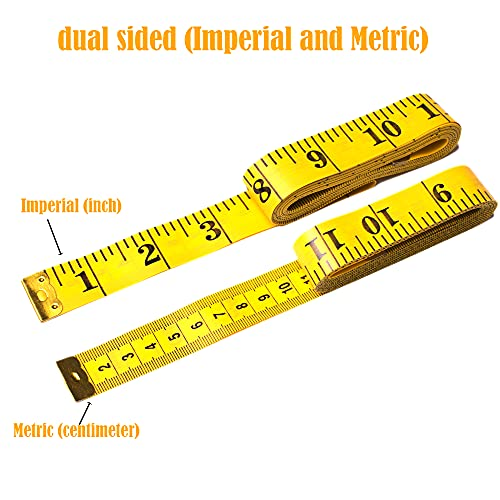 Harsgs 3 Pack Soft Tape Measure Set, Double Scale (120 Inch/300 cm) Sewing Measuring Tape, Flexible Ruler Measuring Tape for Body Fabric Sewing Tailor Cloth Knitting Home Craft Measurements, Yellow