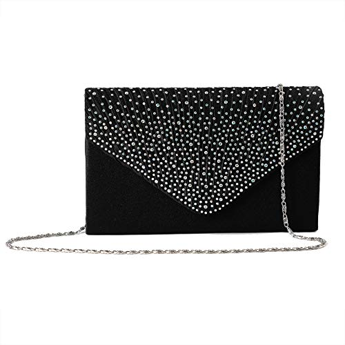 Rhinestone Envelope Gold Women Bridal Wedding Purse Clutch EUPHIE Black Evening Handbags YING IaZqgSx