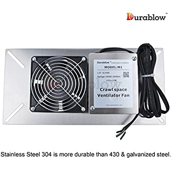 Durablow Stainless Steel Crawl Space Foundation Dual Fans