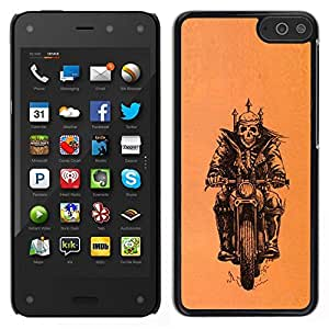 // PHONE CASE GIFT // Duro Estuche protector PC Cáscara Plástico Carcasa Funda Hard Protective Case for Amazon Fire Phone / Biker Motorcycle Orange Crown Skull /