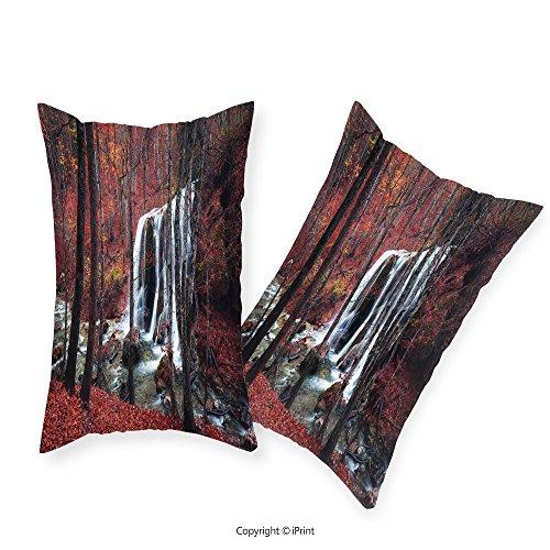 iPrint Premium Cotton Zippered Pillow Cases 2 Pack Apartment Decor Cascade Misty Fall Day Shedding Leaf at Mountains Rocky Creek Habitat Decor Red Brown For home decoration