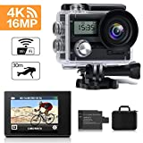 Action Camera, MOSPRO 4K WiFi Waterproof Sports Cam 170 Degree Wide Angle 16 MP DV Camcorder with 2 Rechargeable Batteries and 19 Mounting Accessories Kit