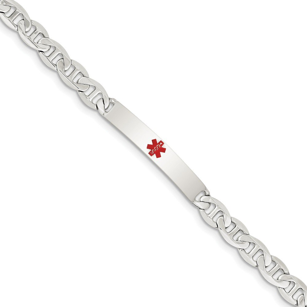 Top 10 Jewelry Gift Sterling Silver Polished Medical Anchor Link ID Bracelet
