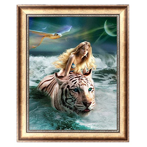 Delight eShop DIY 5D Tiger & Beauty Diamond Painting Cross Stitch Embroidery Home Decor