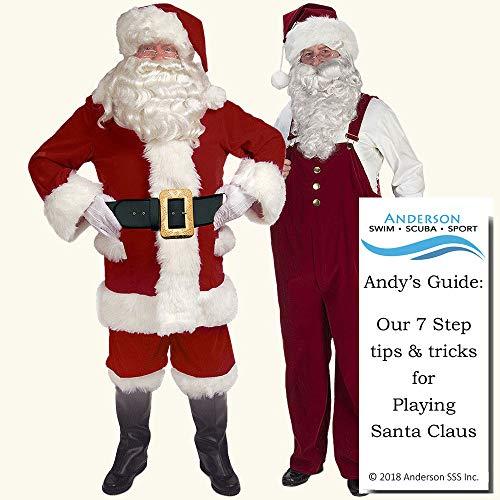 (Burgundy Velvet Santa Suit w/Overalls Size 50-56 Halco Claus Deluxe Outfit Bundle w Santa Guide)