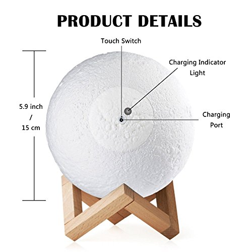 Baby Night Light, Newborn Night Light, Nursery Room Lamp, 3D Moon Lamp, Rechargeable Home Decorative Light, Dimmable Touch Control Brightness, Soothing Light, Relaxing Lamp, Helps You Sleep by Tmore (Image #3)