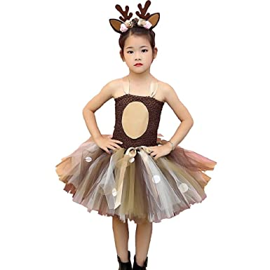 dc0f75ca THE LONDON STORE Baby Girls Deer Pattern Tutu Dress with Headband for Kids  Girls Birthday Party