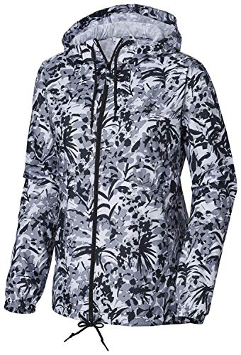 Columbia Women's Flash Forward Printed Windbreaker, Black Tropical Floral, Large