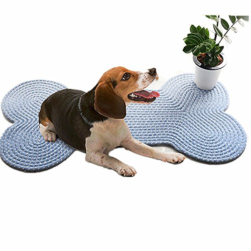 (Dogs/Cats Cushion Mat, Handmade Creative Bone Design Braided Area Rugs Machine Washable Reversible Floor Rugs for Dogs/Cats/Pets, Blue 19.7''×39.4'')
