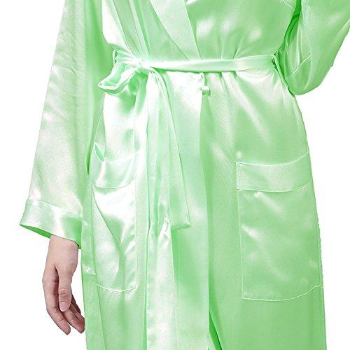 LULUSILK Bata Larga de Seda 19 Momme con Solapas Manga Larga Ropa de Dormir Atractiva Verde Claro