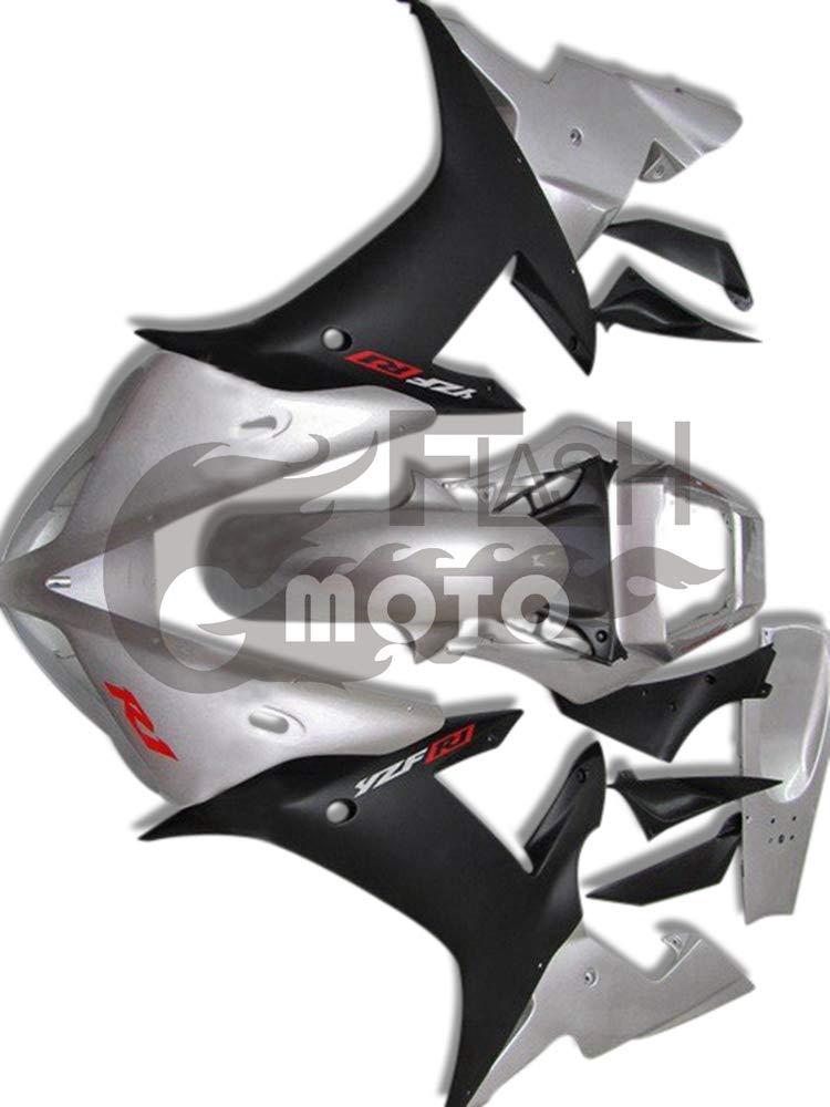 FlashMoto yamaha ヤマハ YZF-1000 R1 2002 2003用フェアリング 塗装済 オートバイ用射出成型ABS樹脂ボディワークのフェアリングキットセット (シルバー,ブラック)   B07LF3B5SG