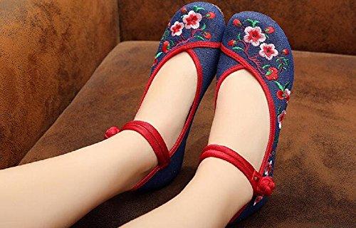 Schuhe Jane Damen Chinesischen Lazutom Stickerei Vintage Mary Blau Lady Stil wgqxwZ08S