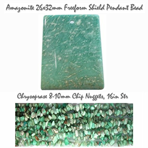 - StonesNSilver Wholesale Bead Lots Natural Amazonite 26x32mm Focal Pendant Bead AND 1 Strand of Chrysoprase 8-9mm Chip Nugget beads (LOT of 2 items) for Jewelry Making