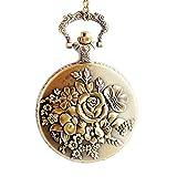 Steam Flower Quartz Pocket Watch Padent for Women - BOSHIYA Locket Watch with Necklace & Clip Chain Gronze