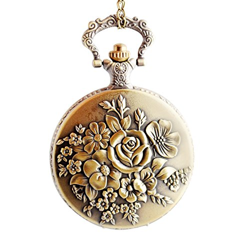 Steam Flower Quartz Pocket Watch Padent for Women - BOSHIYA Locket Watch with Necklace & Clip Chain - Crown Watch Pocket