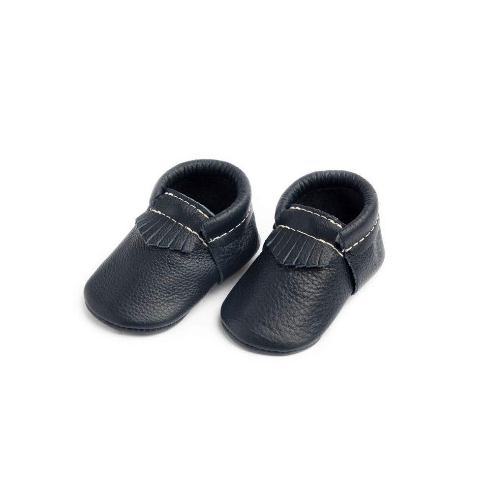 Freshly Picked - Soft Sole Leather City Moccasins - Baby Girl Boy Shoes - Size 3 Navy Blue by Freshly Picked
