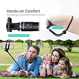 Mpow Selfie Stick Bluetooth, iSnap X Extendable Monopod with Built-in Bluetooth Remote Shutter for iPhone X/8/8P/7/7P/6s/6P/5S, Galaxy S5/S6/S7/S8, Google, Huawei and More(Black)