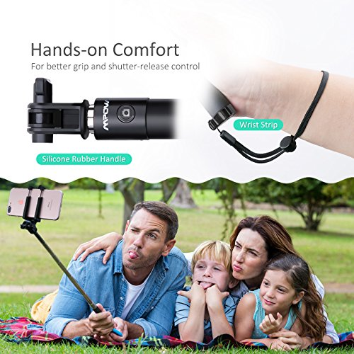 Mpow Selfie Stick Bluetooth, iSnap X Extendable Monopod with Built-in Bluetooth Remote Shutter for iPhone 8/7/7P/6s/6P/5S, Galaxy S5/S6/S7/S8, Google, LG V20, Huawei and More(Black)