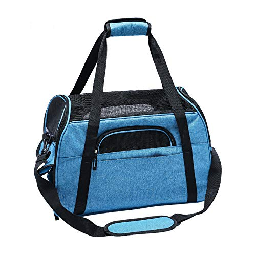 bluee Small bluee Small Soft Sided Pet Carrier, Safety Clasps Ventilated, Comfortable Design Pet Travel Bags for Dog Cat Multiple Sizes and colors Available,bluee,S