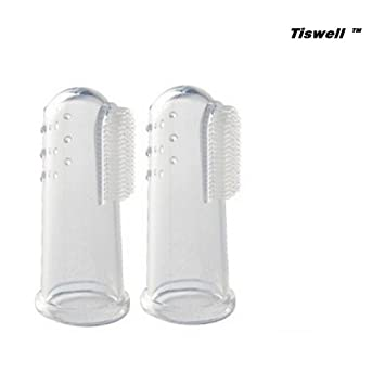 Tiswell Super suave dedo mascota cepillo de dientes, Tiswell silicona dientes de limpieza dental para