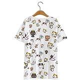 AnimeTown Japanese Cat Game Nekoatsume Costume Short Sleeves Tee T-shirt (M, White)