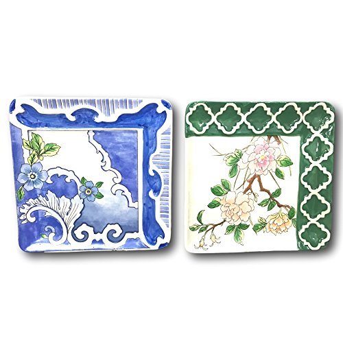 AllAsta Alice Drew Decorative Square Serving Plates Floral Asian Inspired Set of 2 (Plate Floral Serving)