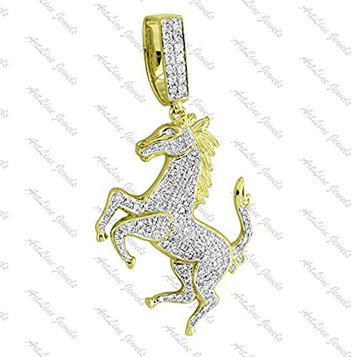 ArtLine Jewels 14k Yellow Gold Finish Round Cut Diamond Ferrari Horse Pendant With FREE Long Chain by ArtLine Jewels