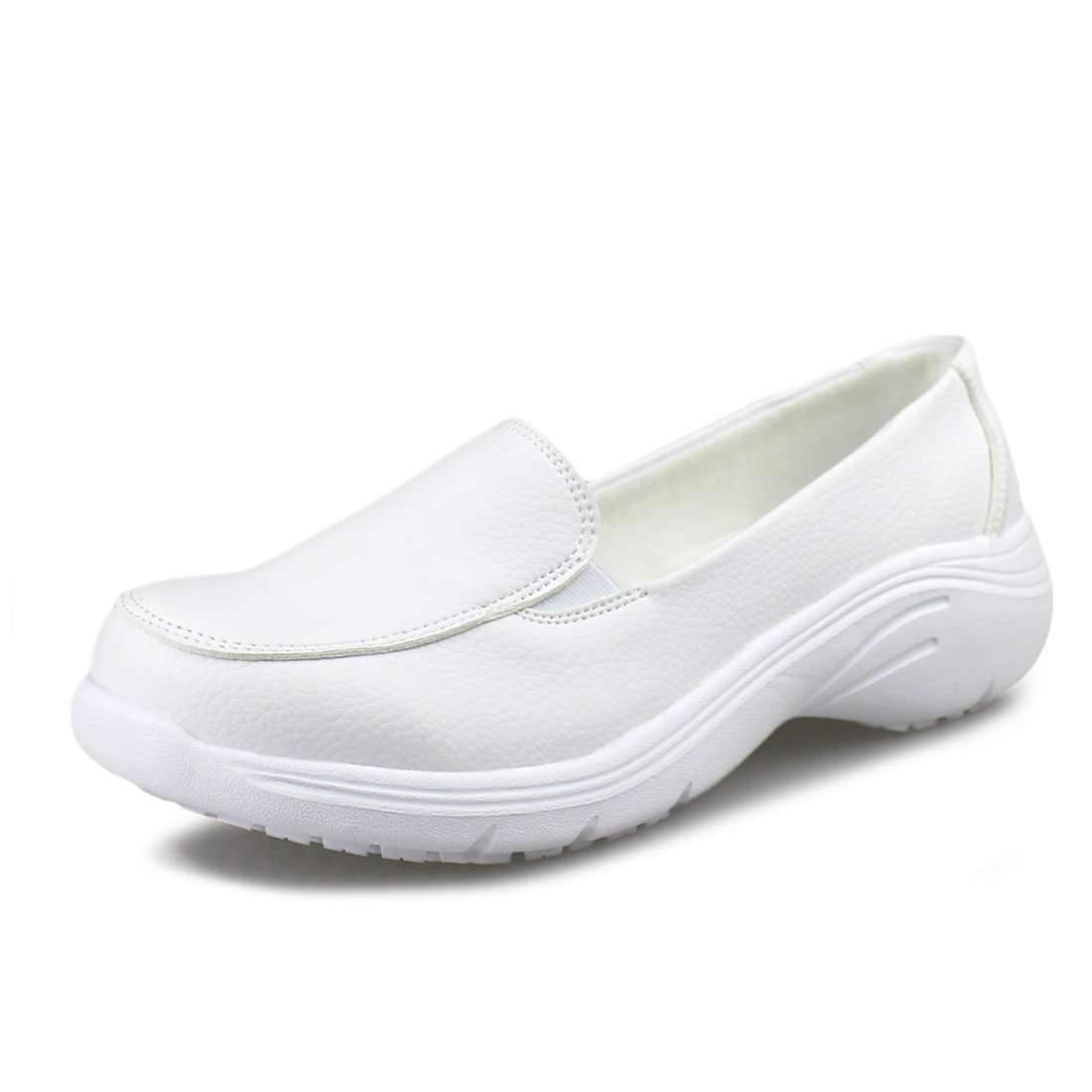 Hawkwell Women's Lightweight Comfort Slip Resistant Nursing Shoes,White PU,6 M US