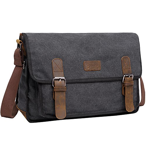 Unisex Canvas Messenger Shoulder Bag, Berchirly 14 inch Laptop Bag Vintage Bookbag For School Satchel Messenger Bag