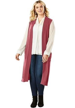 9f5bf2790691a3 Roamans Women s Plus Size Sleeveless Cardigan at Amazon Women s Clothing  store