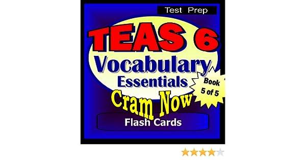 amazoncom teas 6 prep test vocabulary essentials flash cards cram now teas exam review book study guide teas cram now 5 ebook cram now