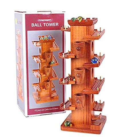 Christmas Gifts for Kids Marble Tower Wooden Marble ball track Slide Block Rail Car With Glass Beads Educational Toy