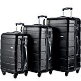 Merax MT Imagine Luggage Set 3 Piece Spinner Suitcase 20 24 28inch (Black)
