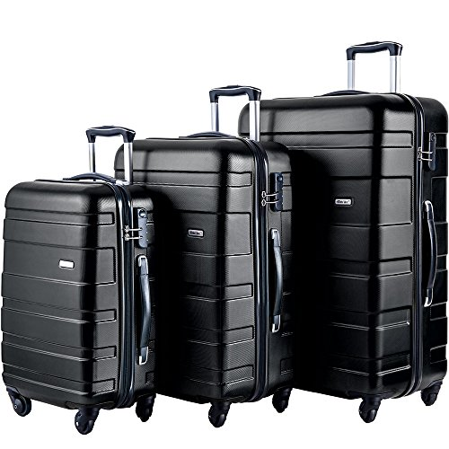 Suitcase Set (Merax MT Imagine Luggage Set 3 Piece Spinner Suitcase 20 24 28inch (Black.))