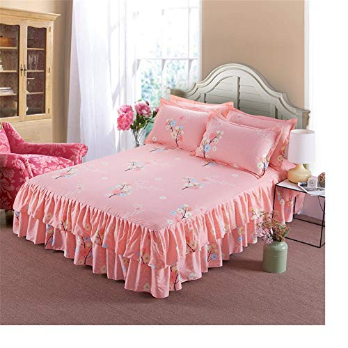 Bed Skirt Ruffle Skin-Friendly Bilateral Polyester Princess Bed Bed Valances Sheet Double Washable dust Ruffle Easy Care Valance Sheet Abrasion Resistant Fade Resistant (Fuchsia Bedskirt)