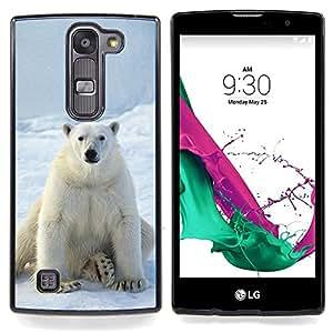 "Qstar Arte & diseño plástico duro Fundas Cover Cubre Hard Case Cover para LG G4c Curve H522Y ( G4 MINI , NOT FOR LG G4 ) (Oso polar blanco como la nieve del hielo ártico animal"")"