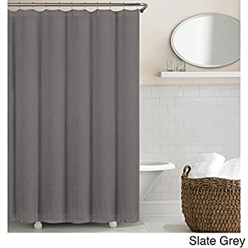 Amazon.com: Echelon Home Washed Belgian Linen Shower Curtain Slate ...