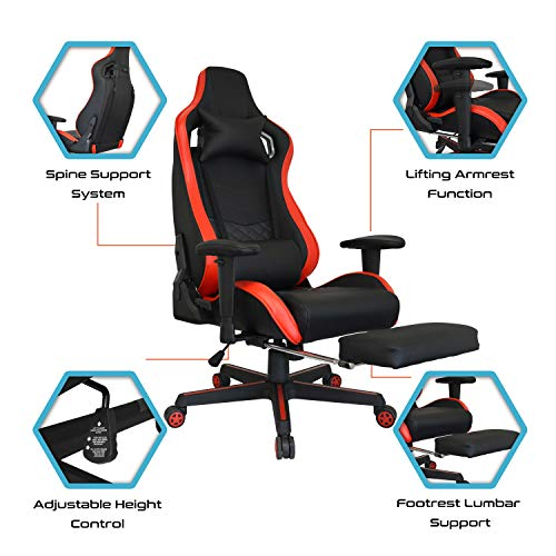 Kingsports High Back Gaming Racing Chair Foot Rest Pillow Lumbar Support Adjustable