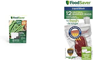 FoodSaver 1-Pint Precut Vacuum Seal Bags with BPA-Free Multilayer Construction for Food Preservation, 28 Count & 1-Quart Liquid Block Heat-Seal Bags, 12 Count - FSFSBFLB216-000