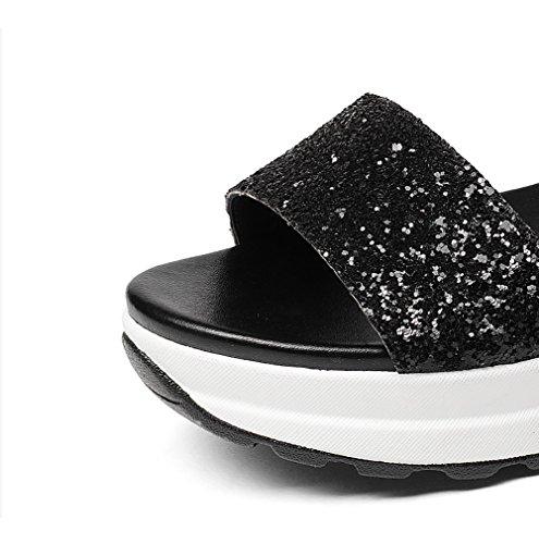 L'été Muffin Femmes Cuir Ouvert À Épais Talon Pente Fond Bout Étudiant Chaussures Chaussures De Noir Plat Sandales Plates 8rqxw8WpB